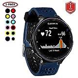 FunBand Correa para Garmin Forerunner 235, Banda de Reemplazo Silicona Suave Sports Pulsera para Garmin Forerunner 235/235 Lite/220/230/620/630/735XT/Approach S20/S5/S6 Smart Watch (Azul&Negro)