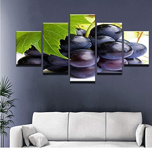 Wuyii 5 panelen modulaire muur fruit rode druif poster Hd druk op canvas moderne wooncultuur stilleven canvas schilderij voor keuken 30 x 40 cm x 2/30 x 60 cm x 2/30 x 80 cm x 1.