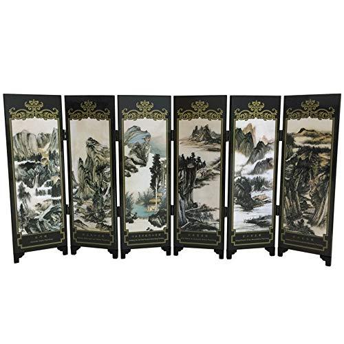 Klein vouwscherm, 6-panel Aziatisch-geïnspireerde Chinese stijl Houten Decoratie Desktop TV-kast Klein Scherm Creatieve Home Decoratie Geschikt voor Collectie of Gift