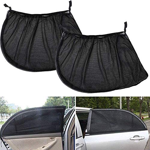 Veshow 1 par de parasoles para ventanas de coche, red de protección para ventanas traseras de coche, bloquea los rayos UV, protege a bebés y mascotas, 110 x 50 cm, se adapta a todos los coches (98%)