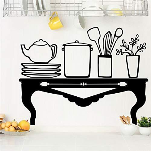 UDPBH Tafel Teapot Plate Gereedschap Zwarte Muurstickers Keuken Eetkamer Woondecoratie Vinyl Muurstickers Diy Mural Art Poster