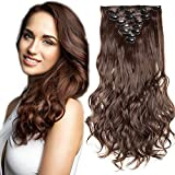 SEGO Extension a Clip Cheveux Rajout Syntetique pas Cher Curly Longue - 43 cm Chatain Chocolat - [8 Piece 18 Clips] Clip in Hair