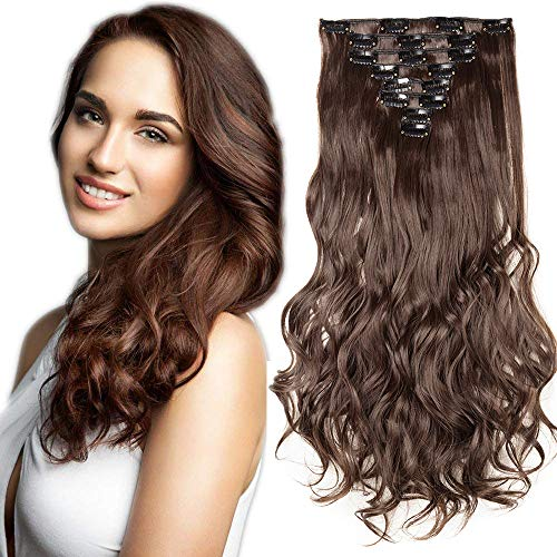SEGO Extension a Clip Cheveux Rajout Synthétique pas Cher Curly Longue - 43 cm Chatain Chocolat - [8 Piece 18 Clips] Clip in Hair