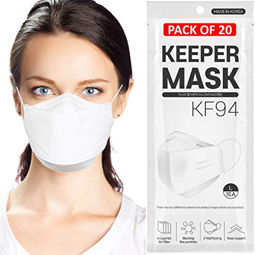 (Pack of 20) Disposable KF94 Face Masks 4-Layer Filters Breathable Comfortable Protection Protective Nose Mouth Covering Dust Mask for Women Men Adults Made In Korea