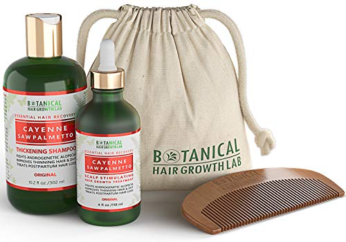 BOTANICAL HAIR GROWTH LAB - Scalp Treatment and Shampoo Gift Set - Cayenne Saw Palmetto - Essential Hair Recovery - Scalp Detoxifying / Original - Hair Loss Prevention Alopecia Postpartum DHT Blocker