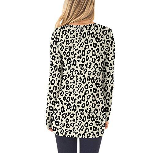Janly Clearance Sale Blusa de manga larga para mujer, estampado de leopardo, manga larga, cuello redondo, botones, blusa, blusa estampada para Pascua, San Patricio, regalo (amarillo-M)