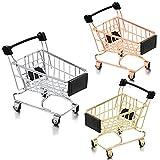 3 Carritos de Compras de Metal de Juguete de Niños Mini Carritos de Compras 3 Colores Carro de Mano de Supermercado Carro de Utilidad de Compras Pequeños Carritos de Almacenamiento Modelo