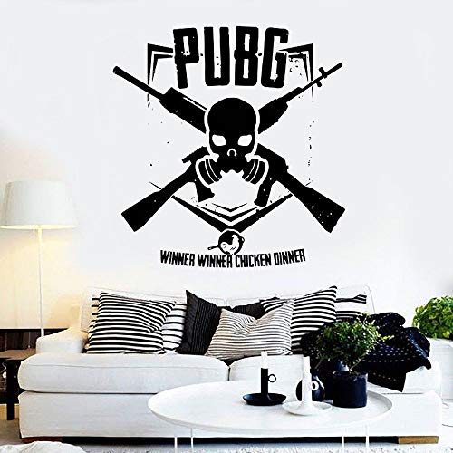 PUBG Winner Chicken Dinner Skull Weapon Logo Sign Gun Shooting Game Vinilo Etiqueta de la pared Calcomanía Boy Dormitorio Sala de juegos Studio Club Home Decor Mural