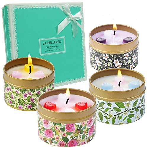 LA BELLEFÉE Vela Perfumada de 100% Soja Naturales Decorativa Aromaterapia Set de Regalo para Amigos Familiares Madres Novios Cumpleaños Festivales y Fiestas