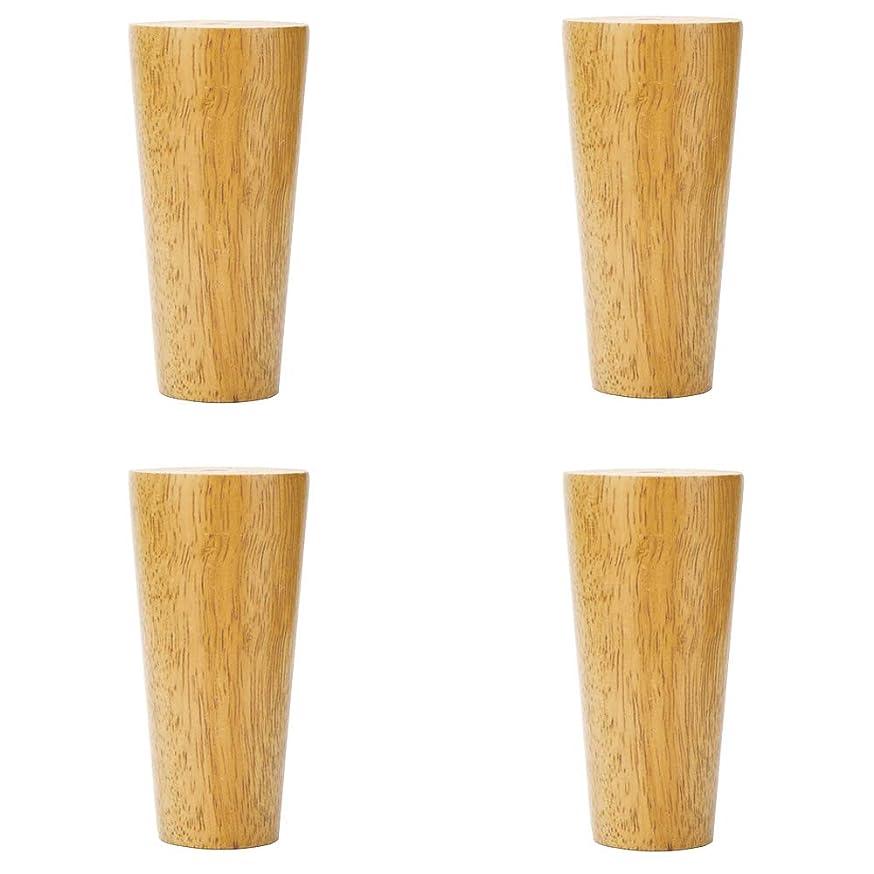 穀物シャワーロッカー頑丈なソファ家具の足、手磨き、自然な風合い、ステンレス鋼の留め具、ゴム製木材の支持足(4)