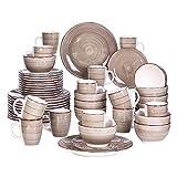 Vancasso Tafelservice Steingut, Bella 48 teilig Geschirrset, handbemaltes Kombiservice Set, Marokko Stil, handbemalt für 12 Personen