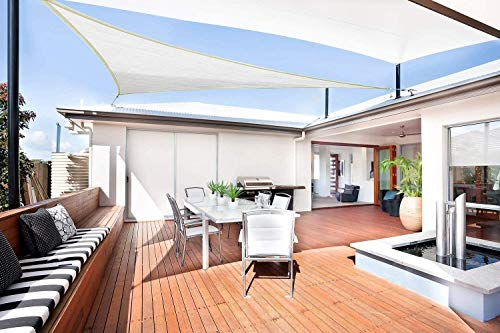Sunnylaxx Vela de Sombra Triangular 3 x 3 x 4.2 Metros, toldo Resistente y Transpirable, para Exteriores, jardín, Color Crema