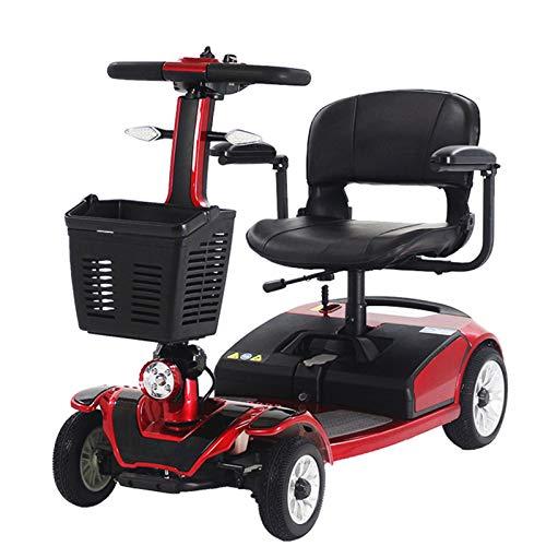 LINGZE Scooter eléctrico, escooter Ligero y portátil con iluminación LED, Freno de Mano eléctrico y batería de Carga rápida Desmontable, Rojo