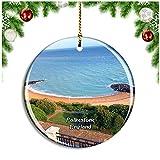 Weekino Folkestone Lower Leas Coastal Park Reino Unido Inglaterra Decoración de Navidad Árbol de Navidad Adorno Colgante Ciudad Viaje Colección de Recuerdos Porcelana 2.85 Pulgadas