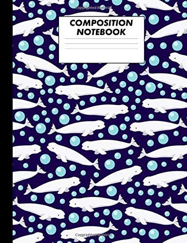 Composition Notebook: Beluga Whale Pattern College Ruled Lined Comp Book