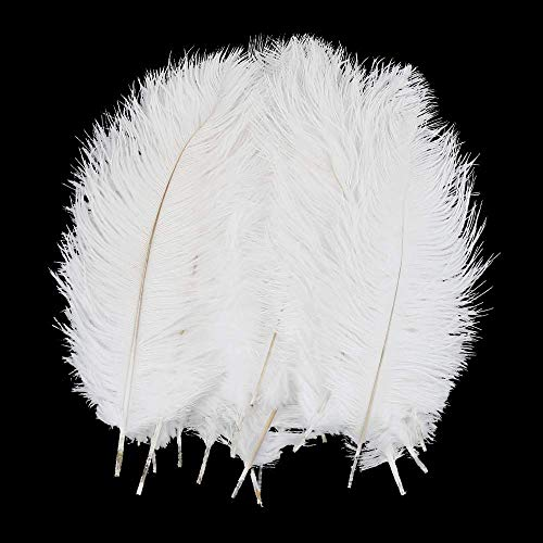 CCINEE 20 PCS Natural Ostrich Feather 10-12 Inche White Feathers for DIY Craft Wedding Decoration Home Decor Masquerade Party Table Centerpieces