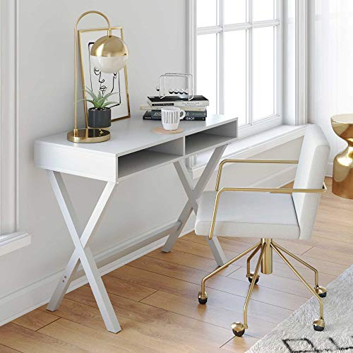 Nathan James Kalos Home Office Computer Desk or Makeup Vanity Table White Modern Wood Finish