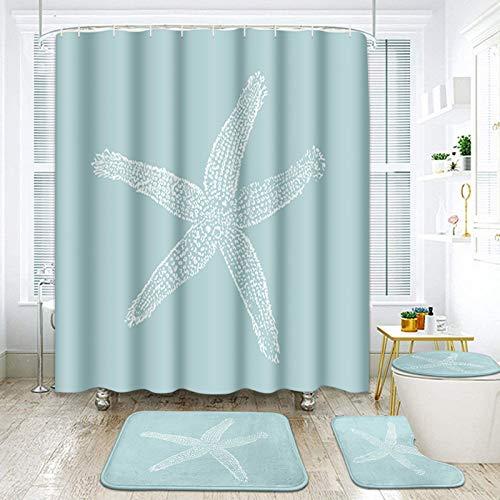 ArtSocket 4 Pcs Shower Curtain Set sea Star White Lapis Lazuli Animal Aquatic Beach Beauty Fish Life Marine Nature Ocean with Non-Slip Rugs Toilet Lid Cover and Bath Mat Bathroom Decor Set 72' x 72'