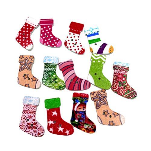 Rosenice calza di Natale in legno 2fori bottoni per creazione biglietti abbellimenti 50PCS