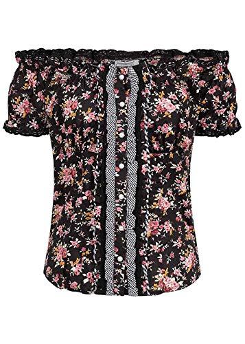 Seventyseven Lifestyle Damen Shirt Off-Shoulder Top Trachten Bluse Blumen Print schwarz, Gr:S
