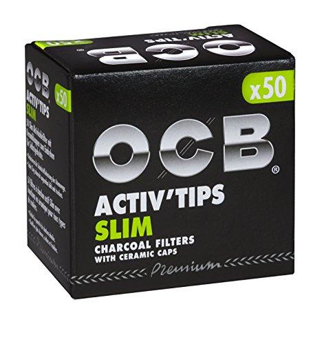 OCB ActivTips Slim-Filtro de carbón Activo con Tapas de cerámica (7 mm, 4 Paquetes de 50 Unidades), Plata, smal