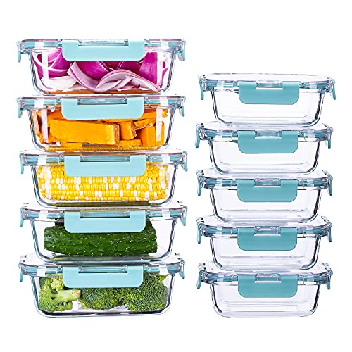 Cutiset Glass Food Container Set with Lids BPA-Free Food Prep Container Microwave, Freezer & Dishwasher Friendly, Set of 10 (1L*5+0.4L*5)