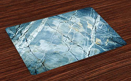 ABAKUHAUS Marmeren Placemat Set van 4, steen van het graniet, Wasbare Stoffen Placemat voor Eettafel, Pale Blue Gray