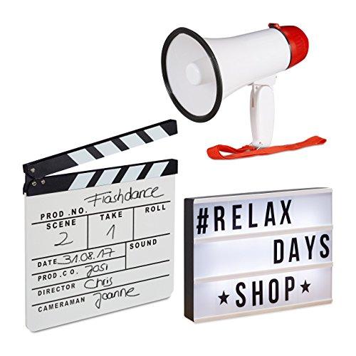 relaxdays 3 TLG. Film-Set, Light Box LED, Megafon 10 Watt, Filmklappe Holz, Leuchttafel mit 85 Zeichen, Flüstertüte, Regieklappe