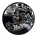 Hot Wheels - Wall Clock Made of Vinyl Record - Handmade Original Art Design - Great Gifts idea for Birthday, Wedding, Anniversary, Women, Men, Friends, Girlfriend Boyfriend and Teens