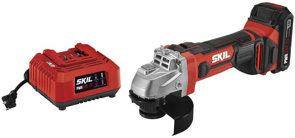 Skil 20V 4-1/2 Inch Angle Grinder, Includes 2.0Ah Pwrcore 20 Lithium Battery And Charger - Ag290202
