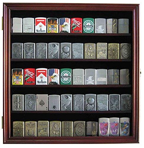 Military/Sport Lighter Matchbook Display Case Wall Cabinet. LC01 (Mahogany Finish)