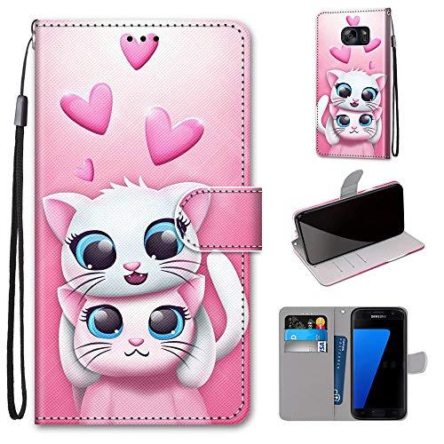 Miagon Custodia Cover Case per Samsung Galaxy S6,Colorato Modello Pelle Portafoglio Libro Cuoio Flip Cover con Porta Carte Magnetica Supporto,Gatto Amante