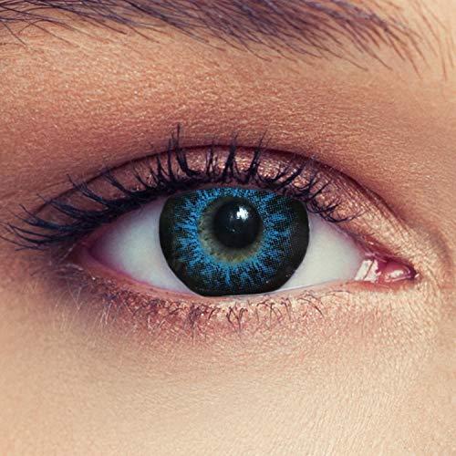 Designlenses Cosplay Kontaktlinsen mit Sehstärke High intensive Farbige Monatslinsen weich, 2 Stück, BC 8.8 mm/DIA 14.5 mm / -6.5 Dioptrien, blau