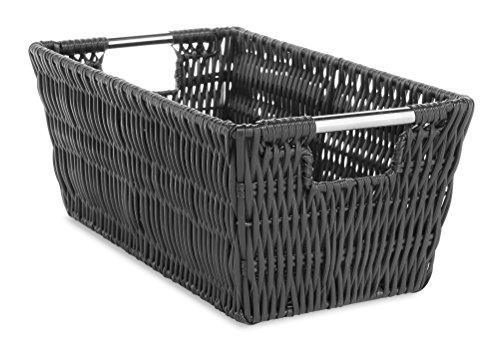cesta con tapa con efecto mimbre fabricante Whitmor