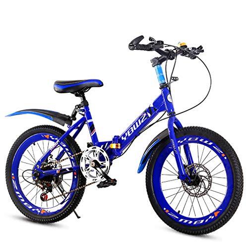 YAOXI Bicicleta De Montaña con Espesor Absorción De Choque del Neumático Plegable Marco Hecho De Acero Al Carbono Frenos De Disco En Frente Y Detras Bicicleta para Niños,Azul,18Inch