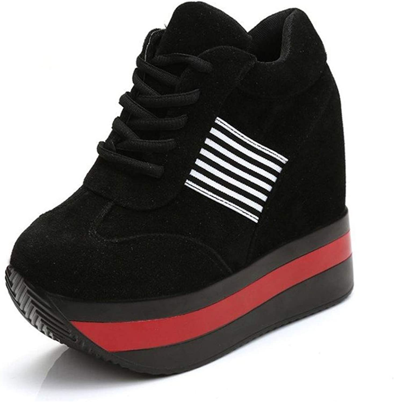 Btrada Women Fall Winter 7cm Height Increasing Platform Sneakers Ladies Plus Size Chunky Wedge shoes