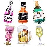 Globos de Papel de Aluminio Botella de Vino, 6 Pedazos Gigante Globo de la Hoja, Inflado Botellas de Cerveza y Forma de la Copa de Vino para Decoración de la Fiesta de Bodas de Cumpleaños Vacaciones