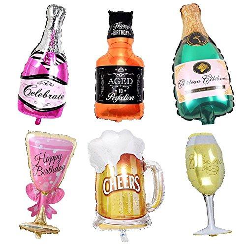 Vientiane Palloncino Bottiglia Vino,6 Pezzi, Bottiglia Birra e Bicchiere Vino Forma Palloncini, Festa di Compleanno, Celebrazione, Cocktail Party, Palloncino Decorazione Vacanza (Palloncini A)