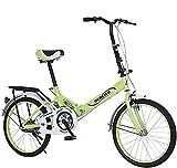 ZLYJ Bicicleta Plegable, Bicicleta Plegable Portátil En V De 20 Pulgadas con Amortiguador, Estudiantes Maduros, Hombres Y Mujeres, Adultos, Bicicleta De Choque Plegable, Singlespeed Green,20 in