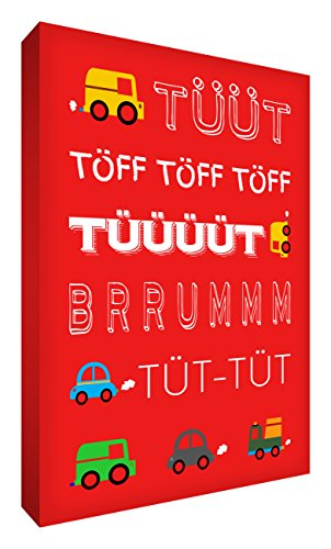 Little Helper TUT2436-09G Feel Good Art Tableau sur toile avec citations en langue allemande Typographie moderne Rouge 91 x 60 cm