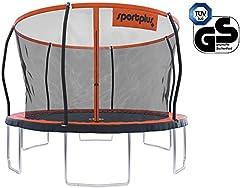 SportPlus trädgårdstudsmatta, TÜV GS-testad, hoppduk ca. 366cm, svetsfri ramkonstruktion, avtagbart skyddsnät, inkl. kantskydd, användarvikt upp till 150kg