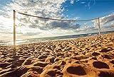 Cassisy 2,2x1,5m Vinile Mare Foto da Sfondo Volleyball Net Tropical Sand Beach Sorgere Blue Sky Nuvole Fondali Fotografia Partito Photo Studio Puntelli Photo Booth