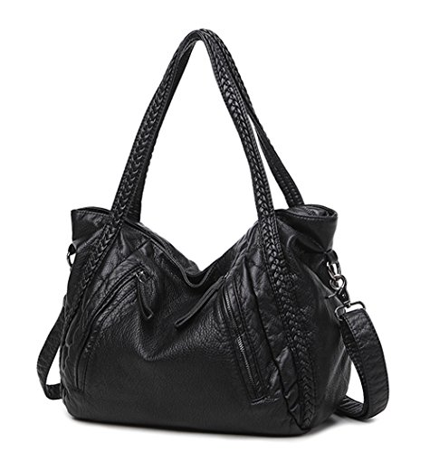 Big Capacity Slouchy Soft Leather Women Black Handbag Shoulder Hobo Bag Lady Tote Purse Crossbody Satchel (Large)