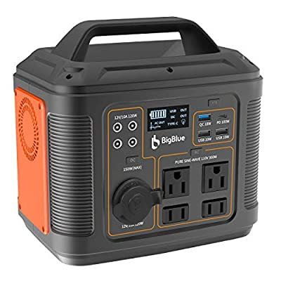[PD 100W Type-C] BigBlue 296Wh Portable Solar Generator with MPPT, Portable Power Station with 110V Pure Sine Wave AC Outlet/4 DC Ports/4 USB Ports, CPAP Backup Battery with 18W Flashlight for Camping