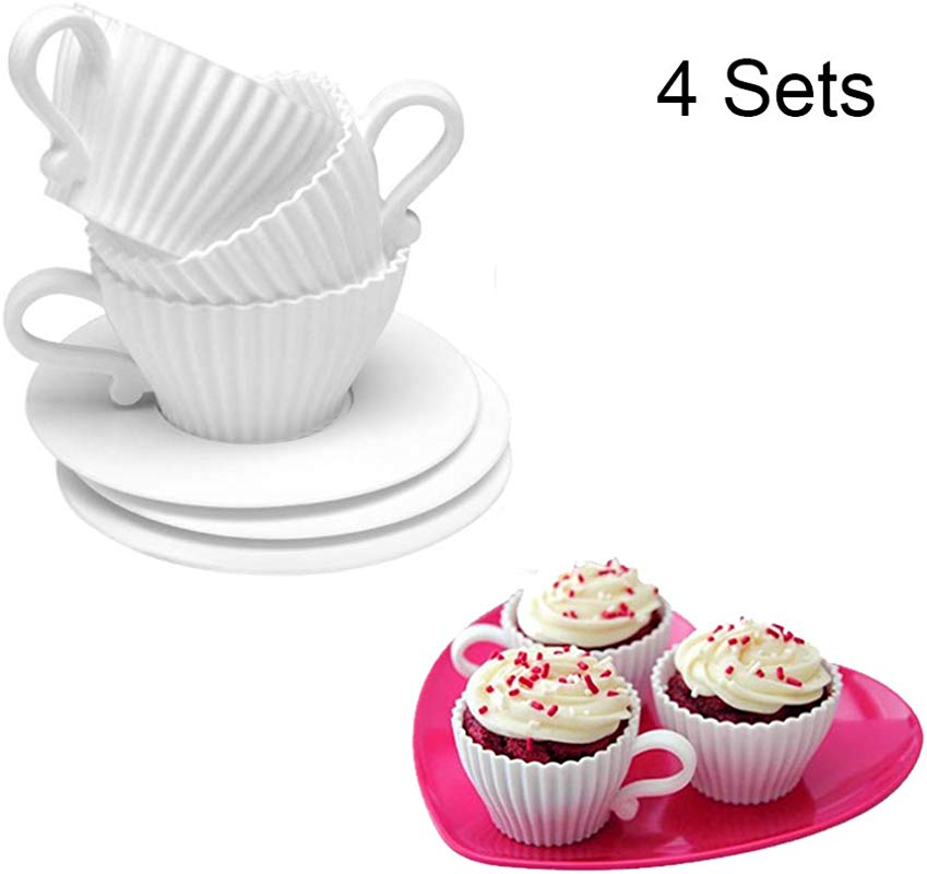 Baking Cupsn 4 Sets Silicone Reusable Cupcake Liners Muffin Cup Saucers Mold Total 8 Pcs By Liangxiang