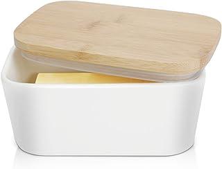 Large Butter Dish 22 oz (650ml), Airtight Butter Keeper Butter Container, Porcelain Butter Keeper Container with Beech Woo...