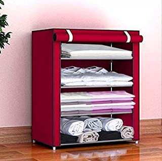 COROID Collapsible Wardrobe Organizer, Storage Rack for Kids and Women, Clothes Cabinet, Bedroom Organiser with 4 Layer Ma...