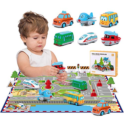 Pull Back Vehicle Toys with Play Mat, Cute Cartoon Pull Back Truck Toy Car for Toddler with Mini Airplane Road Sign, Small Metal Diecast Vehicles Gift for Boys Girls Kids