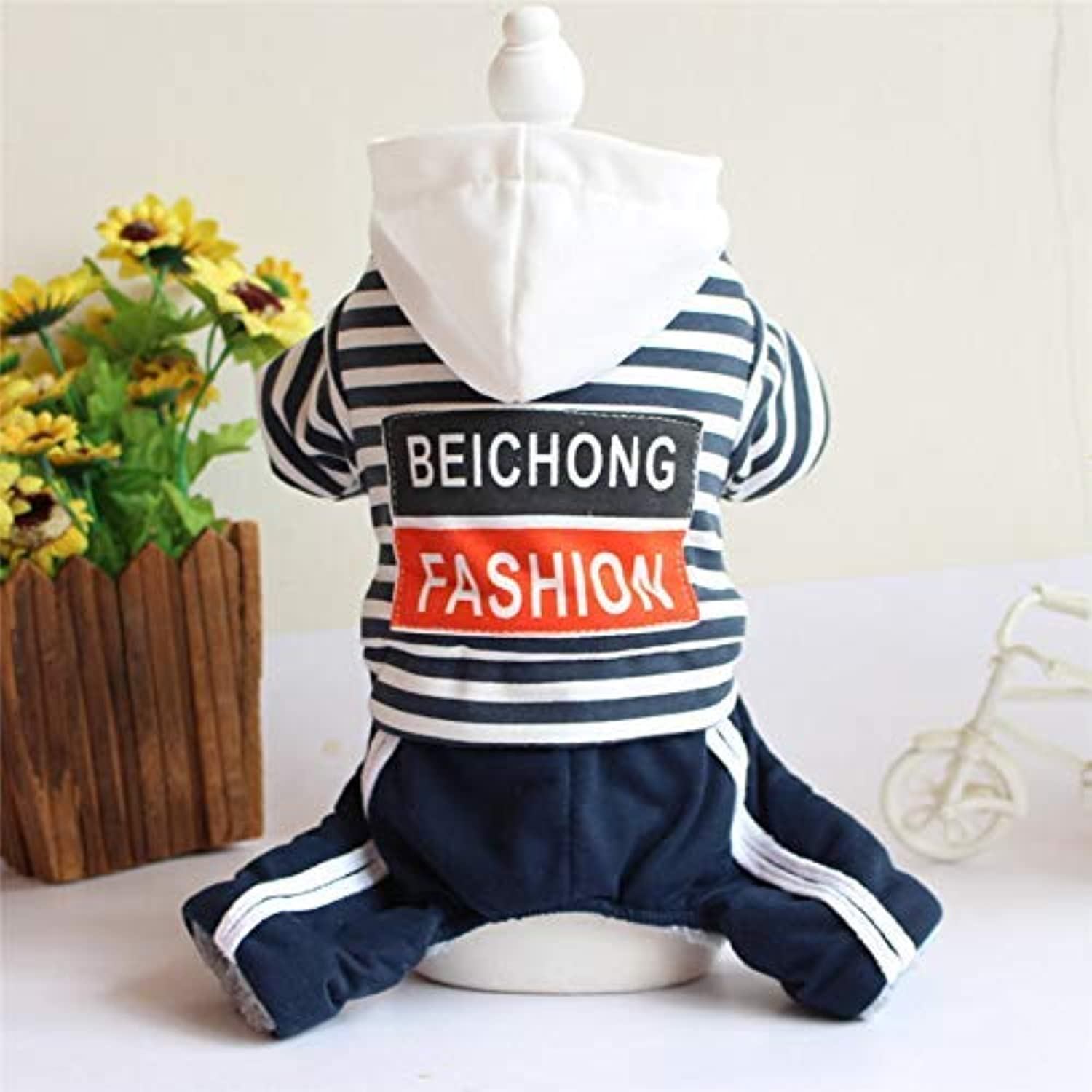Doggy Costume New pet Clothes Autumn and Winter Clothing Dog Teddy Bear Four feet Striped Print Hooded Jumpsuit (color   Dark bluee, Size   M) Pet Dog Clothes (color   Dark bluee, Size   M)