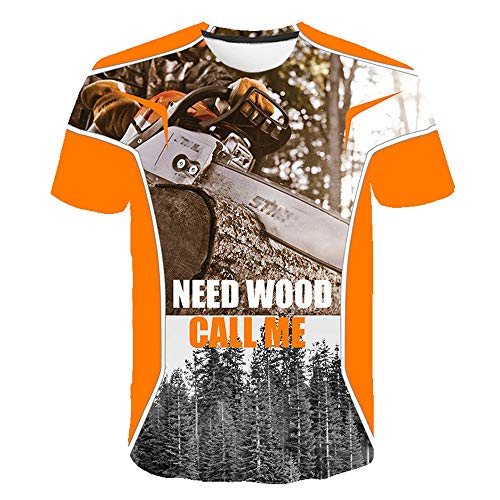 Unisex T-Shirts Manga Corta 3D Camiseta,Motosierra Personalidad Camisas Playa Deporte Golf Tennis tee-Shirt Camisetas para Jogging Yoga Men,3XL